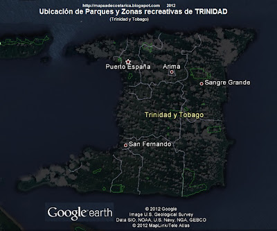 Ubicacion de Parques y Zonas recreativas de TRINIDAD (Trinidad y Tobago) (google earth)