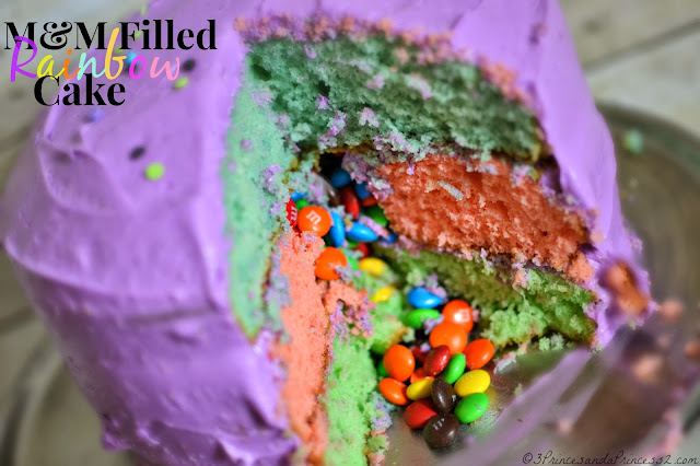 M&M Filled Rainbow Cake #Recipe #BakingIdeas #Shop