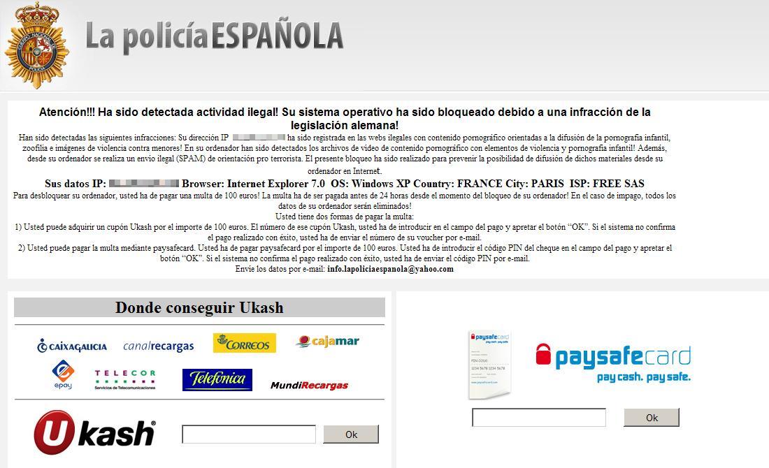 Ayuda con un malware que se hace pasar por la policia española que me bloquea el equipo