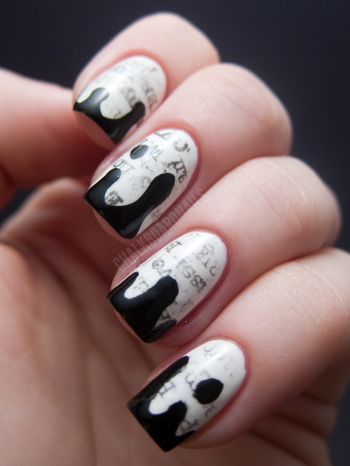 The New Black Typography Set - Daily News | Chalkboard Nails | Nail ...