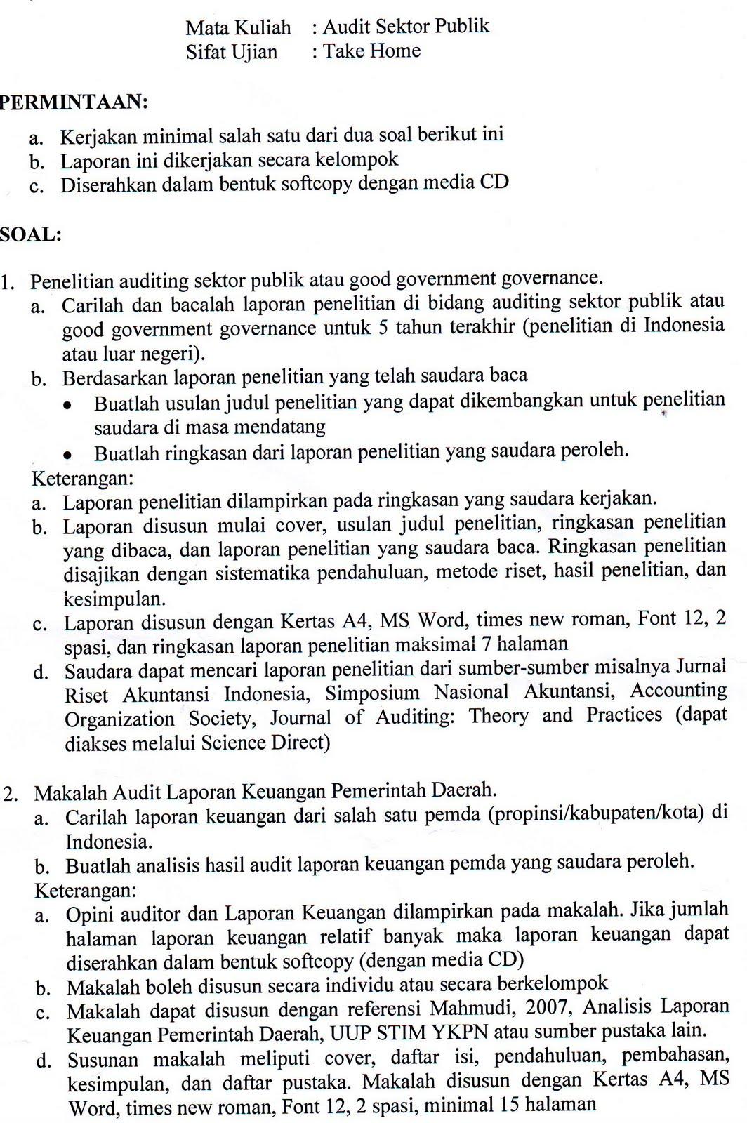 Soal Dan Jawaban Uts Audit Sektor Publik Jurusan Akuntansi Universitas Brawijaya Malang
