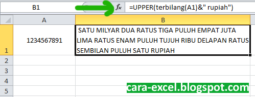 Cara Menggunakan Terbilang Excel