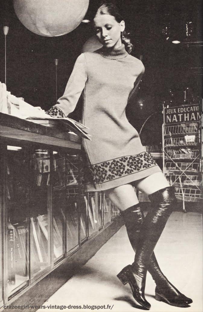 Thigh high boots Vistram 1969 60s 1960 dress jacquard