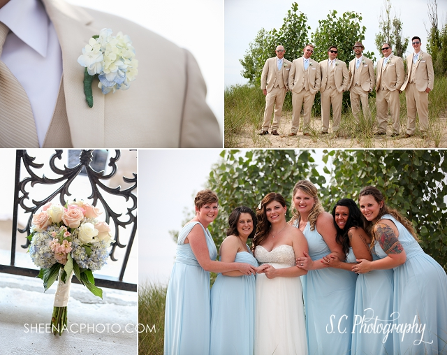 tan groomsmen suits, blue bridesmaid dresses, beach wedding saint joseph michigan, hydrangeas bouquet bridal.