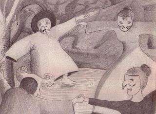 Creación del dibujante Bar  para ilustrar el cuento que publiqué  en el desaparecido periódico La Voz De Asturias en el año 1995... El tiempo no pasa...¡vuela!
