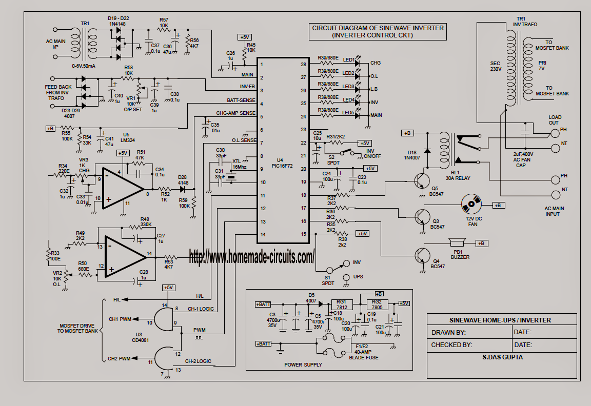 Sukam Inverter Wiring Diagram : Sinewave ups circuit using pic f part electronic
