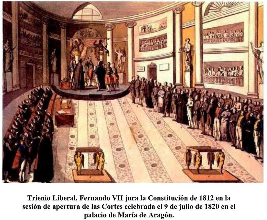 Fenando VII jura la Constitución de 1812 durante las Cortes celebradas el 9 de julio de 1820