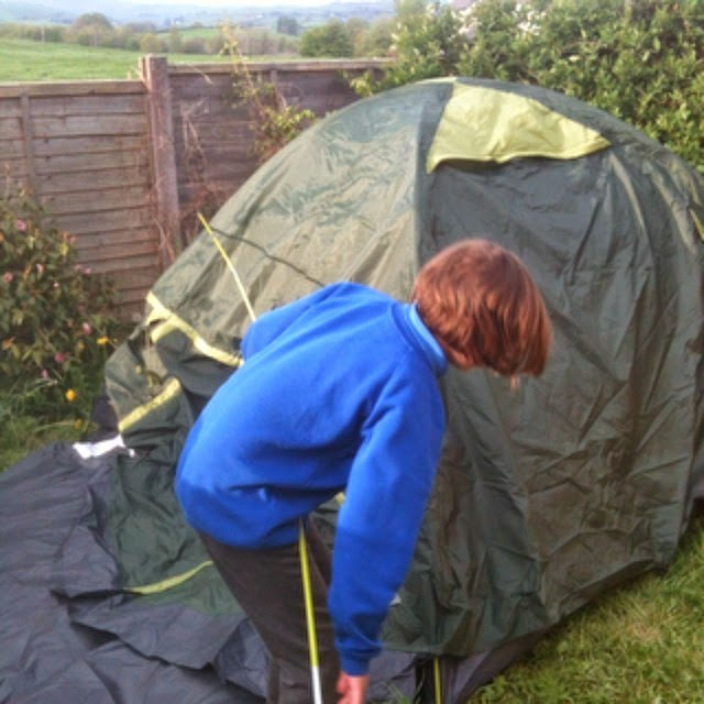 putting up the tent