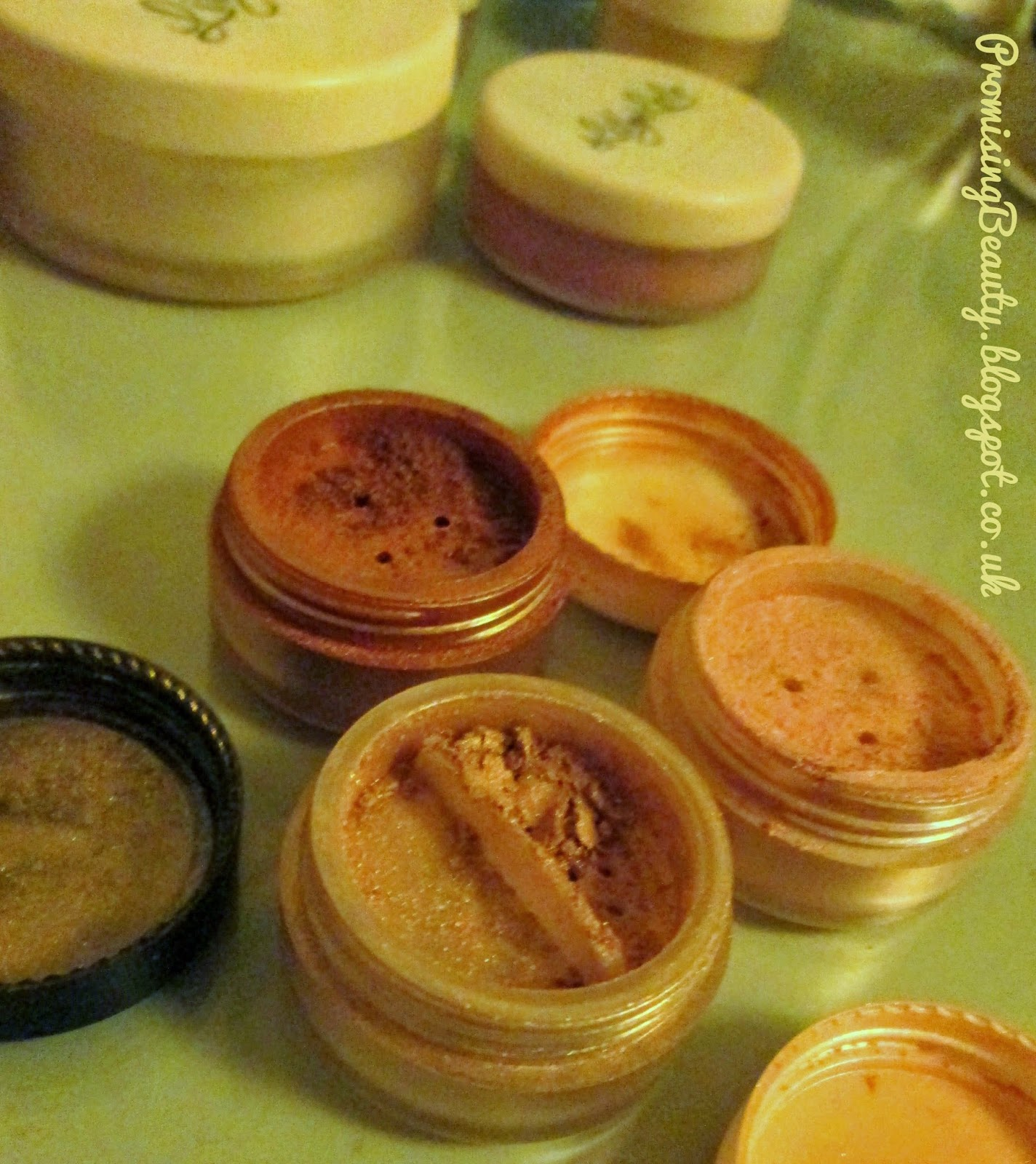 Lily Lolo mineral make up eyeshadows in bronze sparkle, gold digger and pink champagne