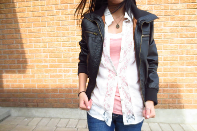 spring outfit inspiration leather jacket