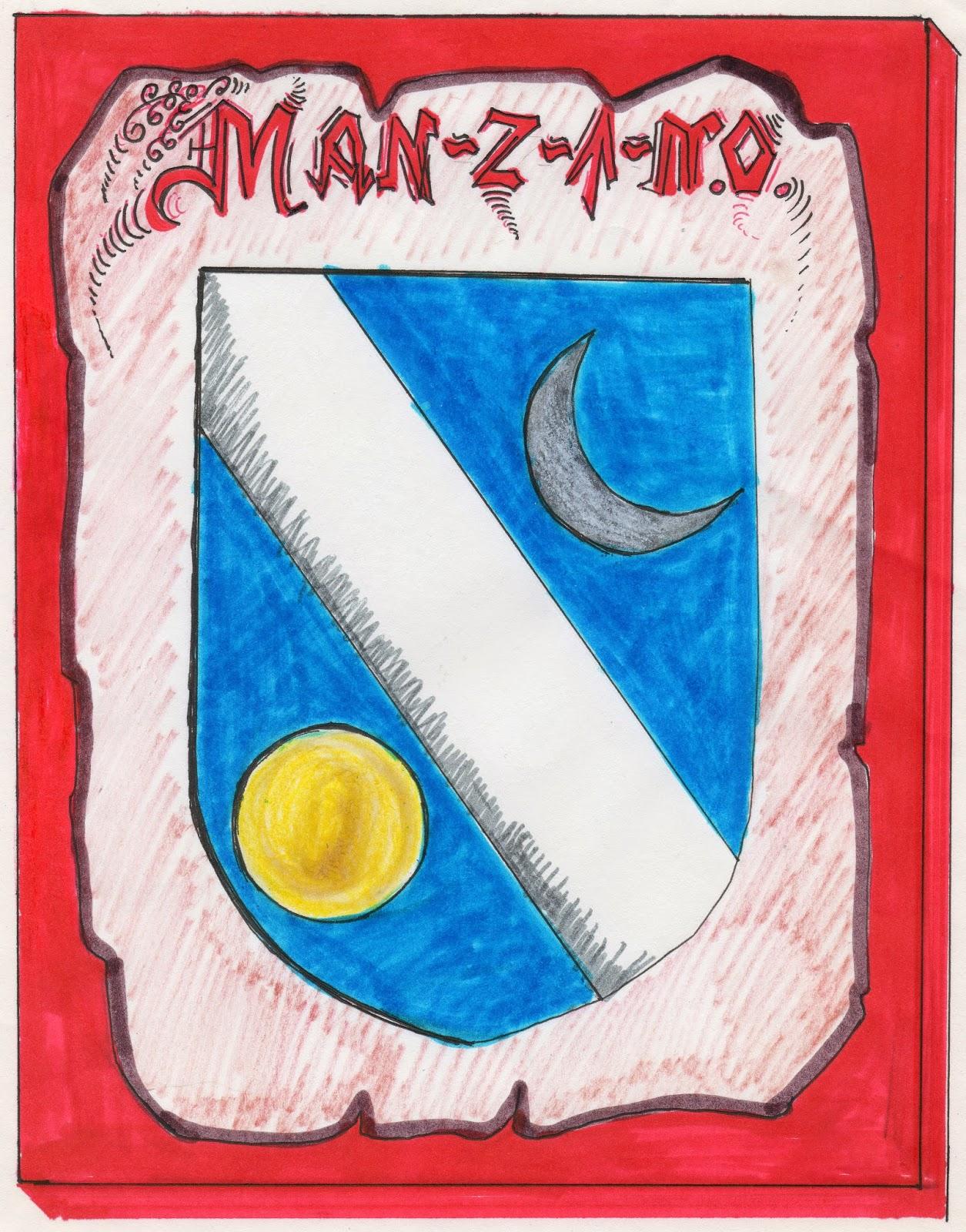 Escudo nobiliario de los Manzano. Boceto para una vidriera plomada que se instaló en el apartamento de la calle Castilla la Vieja de Puerto de Sagunto por Mª Concepción Manzano Álvaro