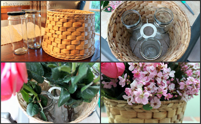 basket, weave, flowers, floral, arrangement, centerpiece, roses, jars, craft, diy