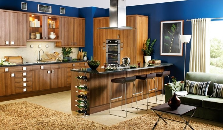 Contrasting kitchen wall colors 15 cool color ideas for Blue kitchen paint color ideas
