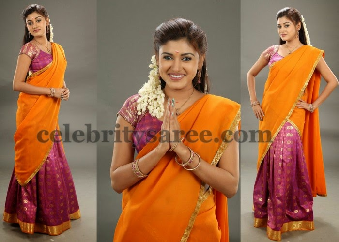 Oviya Orange Half Saree