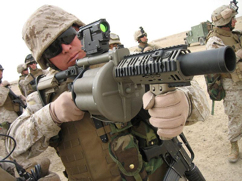 """PROGRAMA # 22: """"DOTACIONES DE ARMAMENTO Y SISTEMAS PARA EL COMBATIENTE DE LAS FFAA PERUANAS: BATALLON DE COMANDOS INFANTERIA DE MARINA DEL PERU """"  800px-M-32_Grenade_Launcher"""