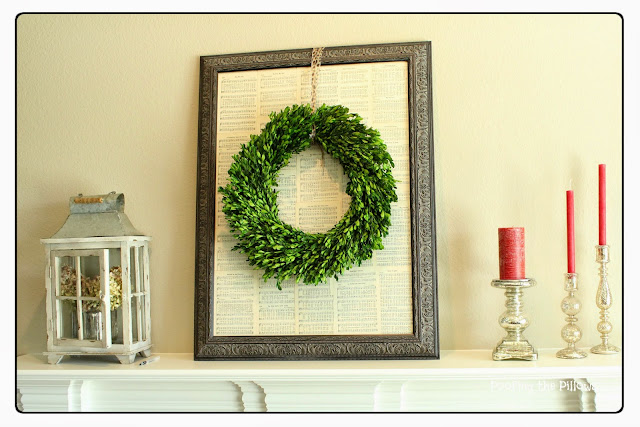 boxwood wreath, fall mantel, sheet music