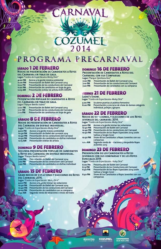 precarnaval programa cozumel 2014