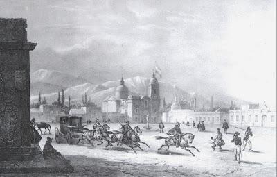 Plaza de Mendoza (1826) Litografía de Edmond Bigot de La Touanne.Tomado de Pinacoteca Virtual Sanmartiniana, de don Jorge César Estol
