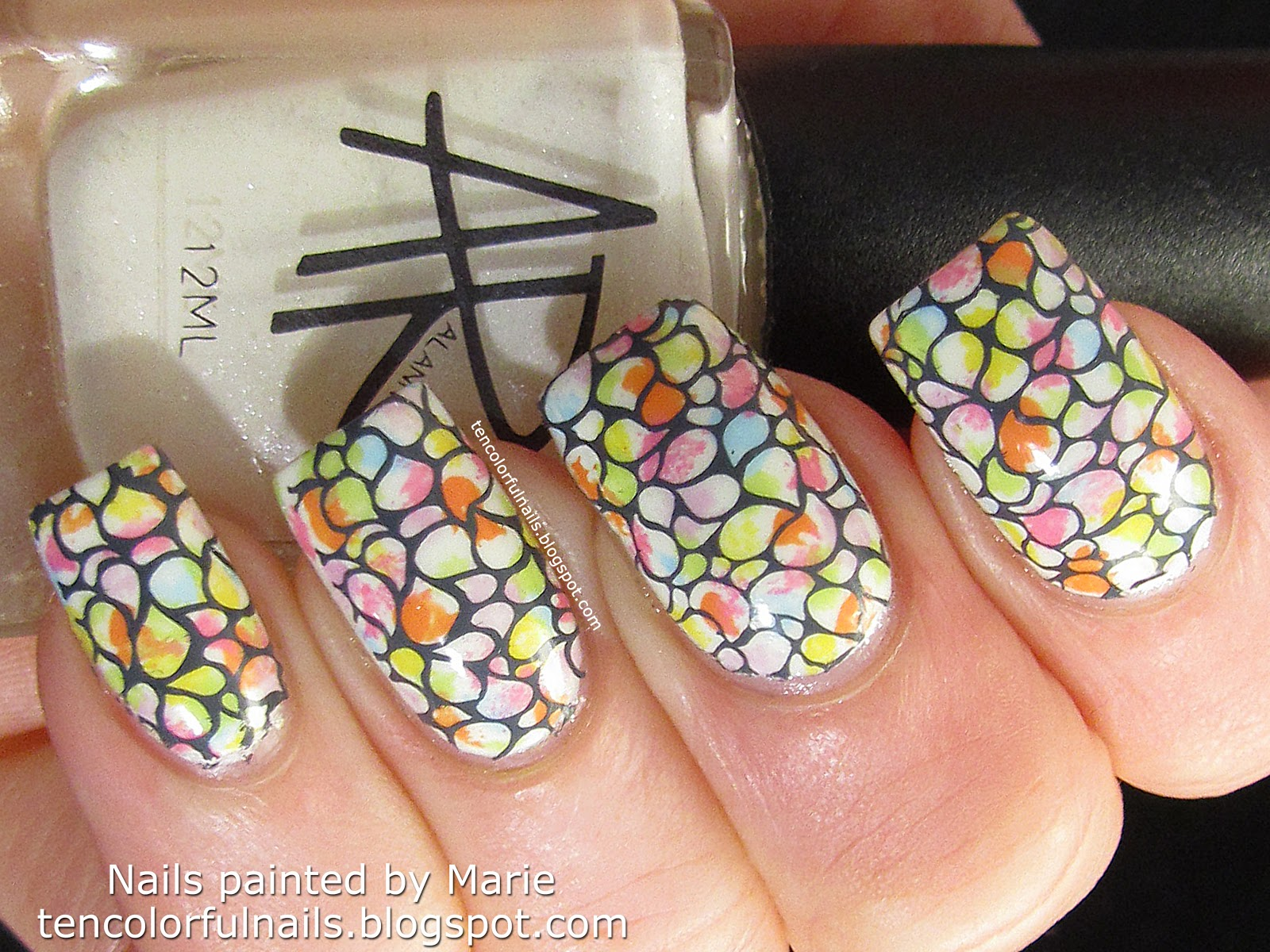 Ten Colorful Nails Sponged Spotsstamped Spring Nail Art