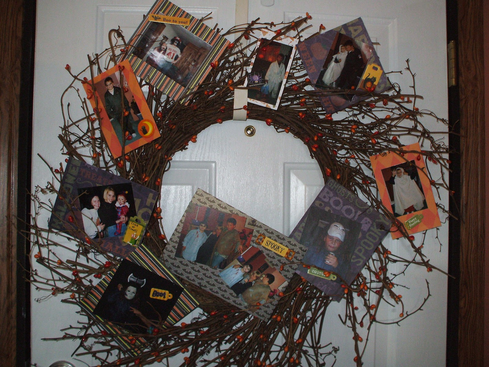 Gray Cardigan Photo Halloween Wreath