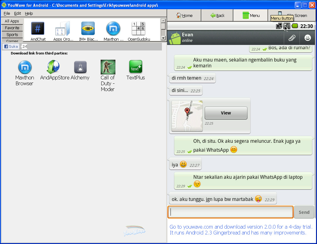 Running Whatsapp on Windows PC