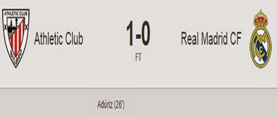 Hasil Athletic Bilbao Vs Real Madrid Skor 1-0