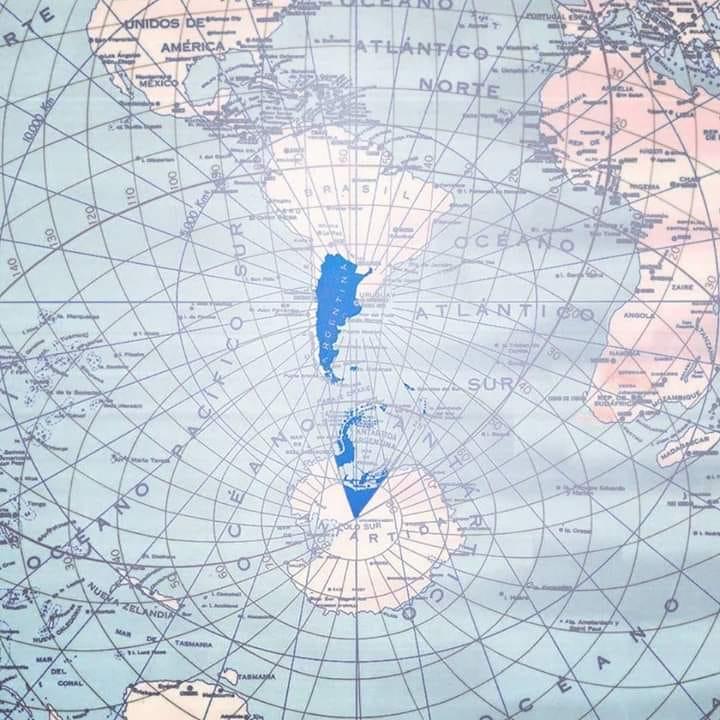 Mapa bicontinental de la República Argentina.
