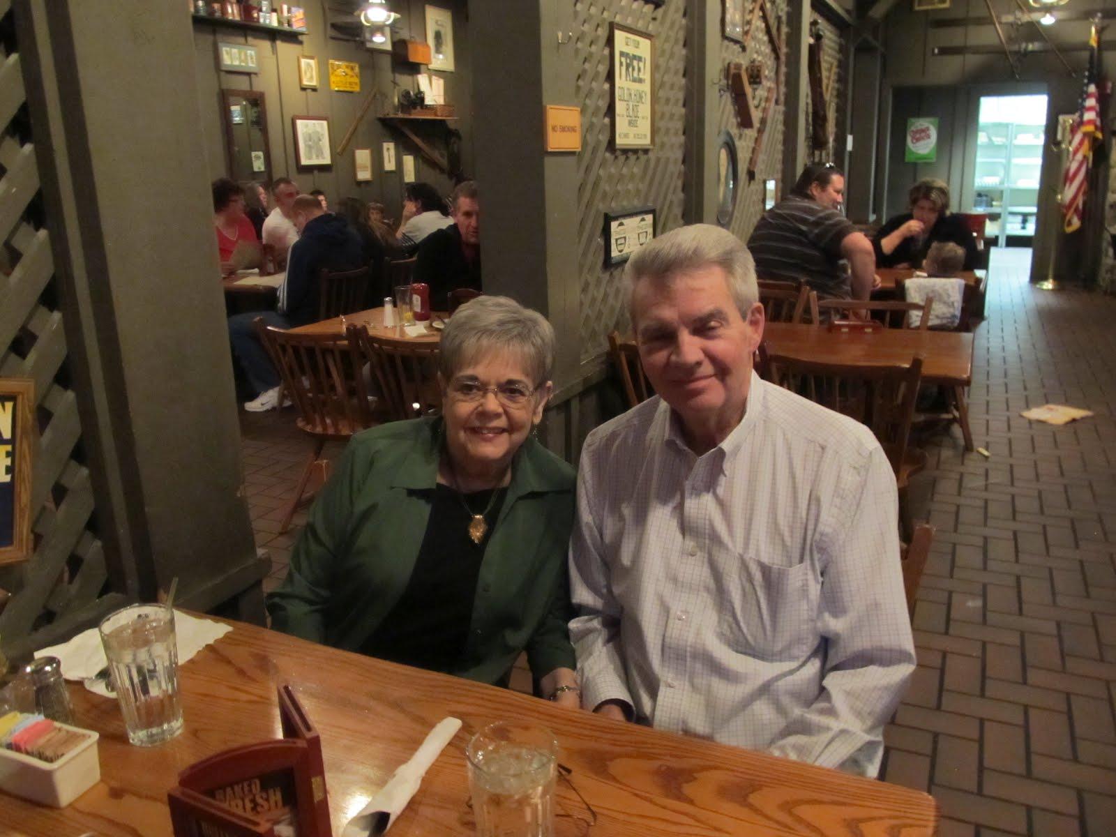 glen and sherie at the cracker barrel restaurant