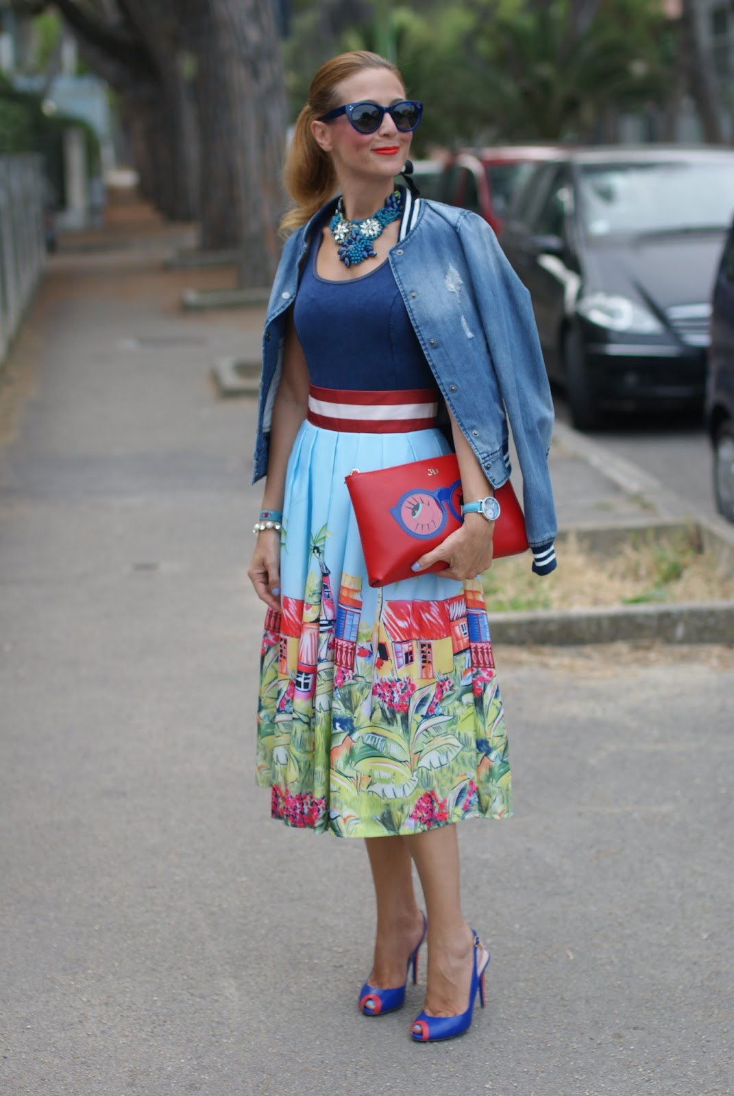 Colorful Zaful midi skirt Stella Jean print, Fashion and Cookies fashion blog, fashion blogger style