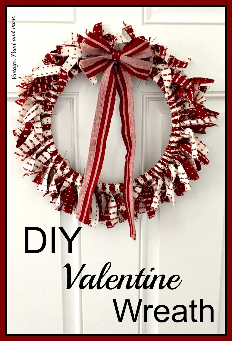 Diy valentine wreath vintage paint and more a wreath made from an embroidery hoop and strips of fabric for valentine decor rubansaba