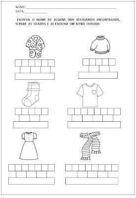 Atividades primeiro ano - Atividades para Alfabetização - Escreva o nome e separe as sílabas