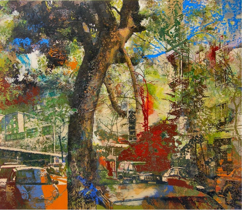 """""""El pino"""". acrílico/lienzo, 81 x 73 cm"""