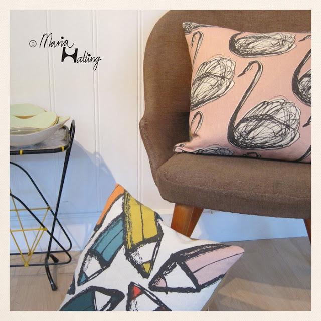 Stoff im 1950er Jahre Stil - perfekte Kombination zu Eames Chair und Isamu Noguchi Coffee Table von Vitra