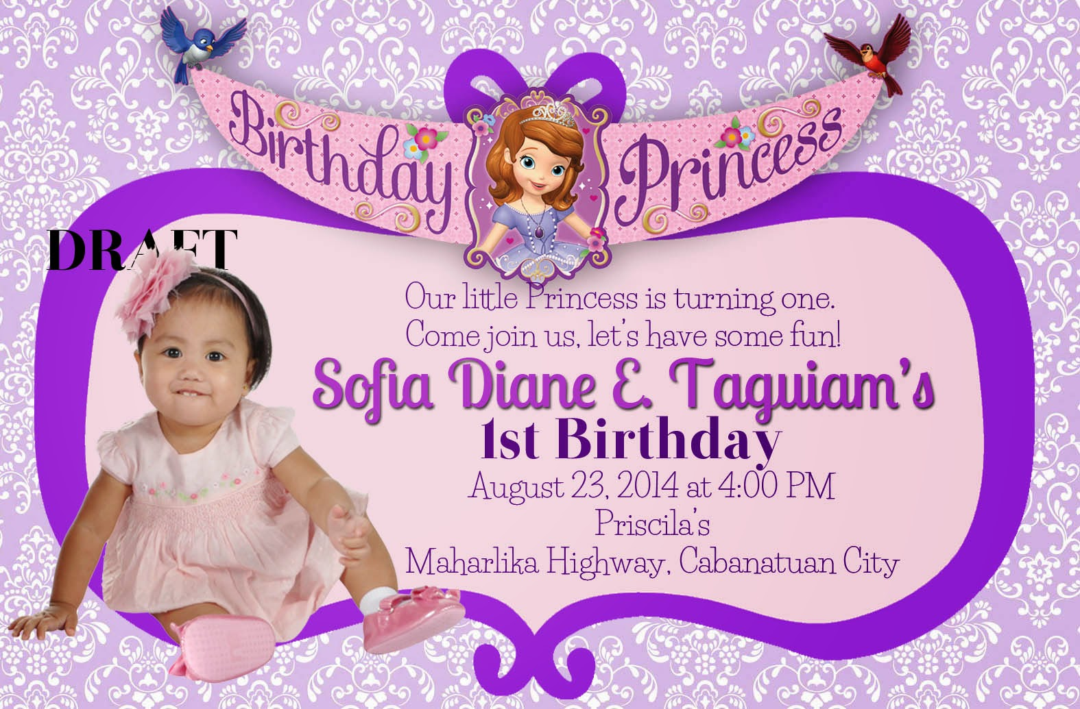 Invitation Wordings Sofia The First Invitation Wording