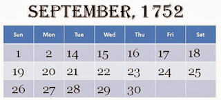 Calender of September 1752 - Missing days