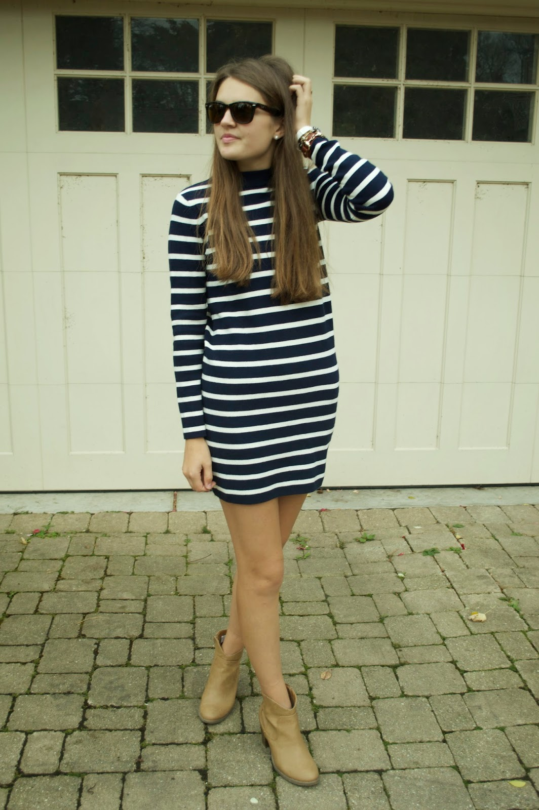 citrus and style: Outfit: Navy   White Striped Sweater Dress
