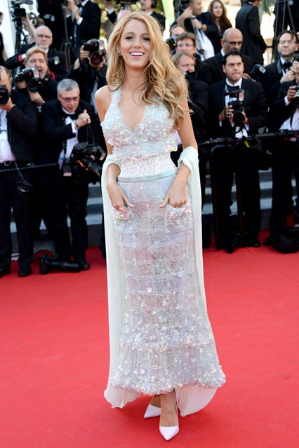 Blake Lively in a Chanel Couture dress with Sophia Webster heels and Lorraine Schwartz jewellery at Cannes 2014