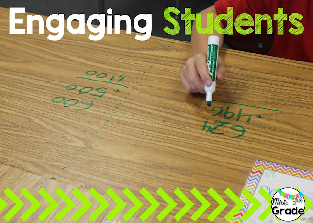 Using student desks to practice math skills and keep students engaged