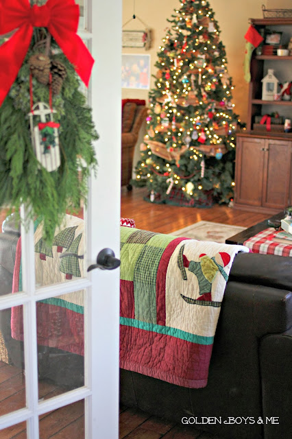 Christmas Family Room French Door-www.goldenboysandme.com