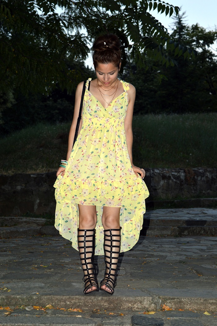 outfit, yellow floral dress, black gladiator sandals, ootd, gold layered necklace, dainty jewelry