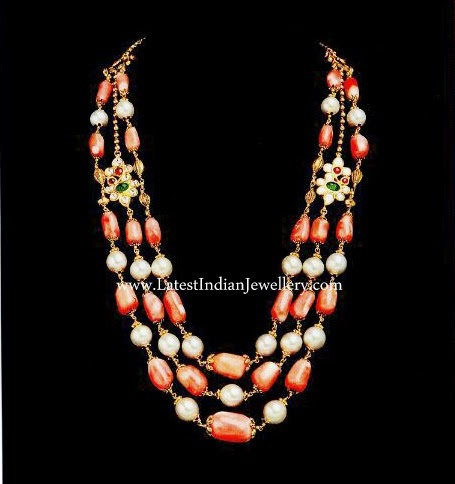 corals pearls beads necklace