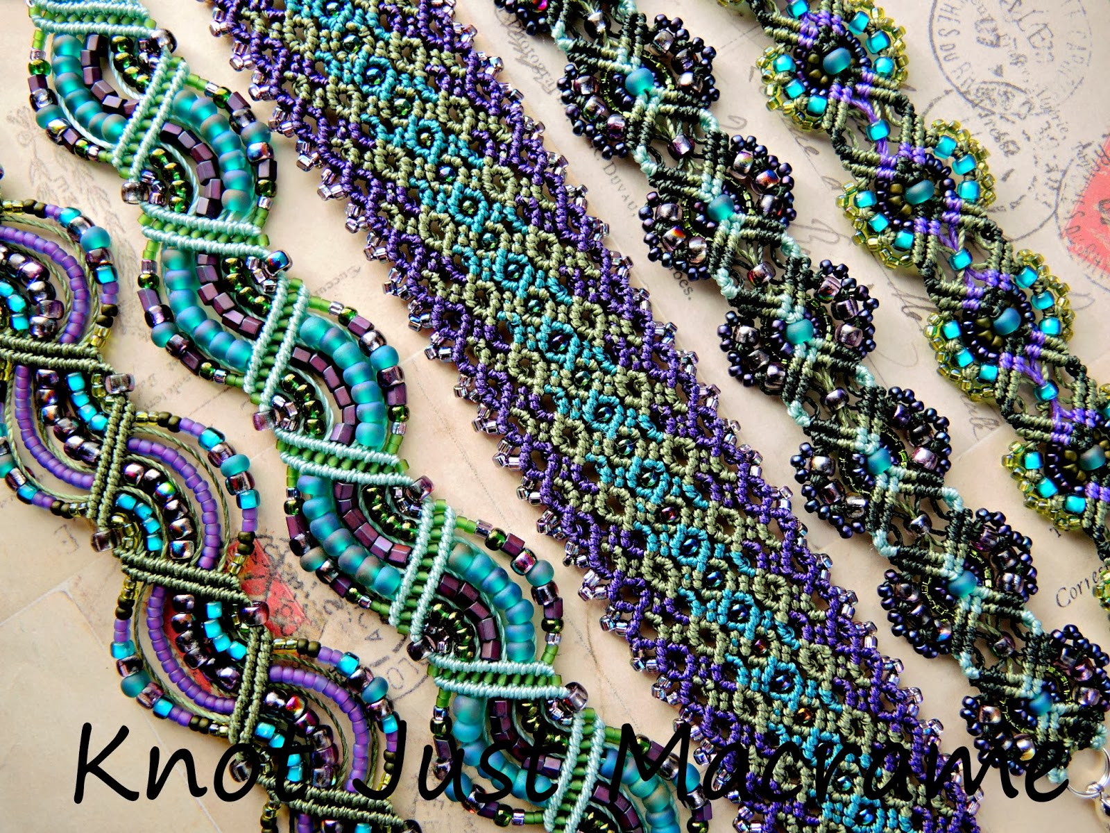 Micro macrame bracelets knotted in olive green, teal and purple.
