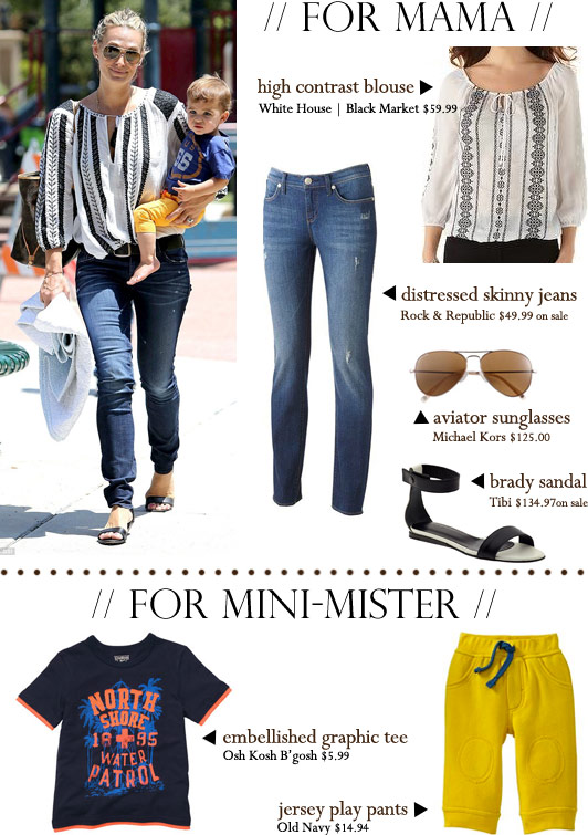Monday Muses, celebrity style, the look for less, Molly Sims, Brooks Stuber, fashion, mom, toddler, mom and baby style, Osh Kosh B'gosh, Old Navy, Michael Kors aviator sunglasses, Tibi Brady sandals, Rock & Republic Berlin distressed skinny jeans