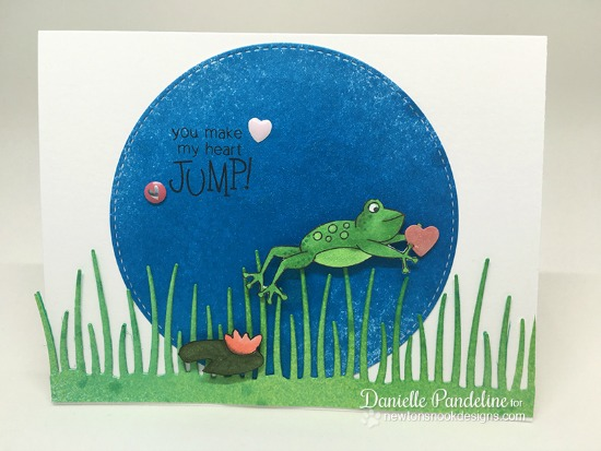 Frog Card by Danielle Pandeline | Hoppy Days Valentine Stamp Set by Newton's Nook Designs #newtonsnook