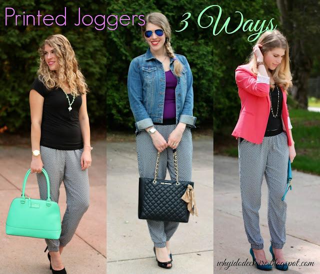 printed joggers three ways,
