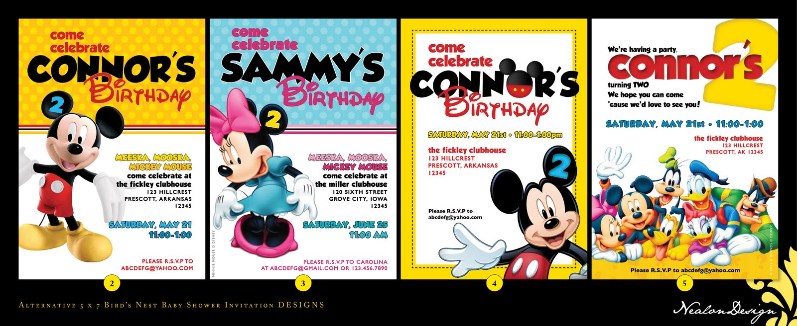 Nealon Design Mickey Mouse Clubhouse BIRTHDAY Invitations