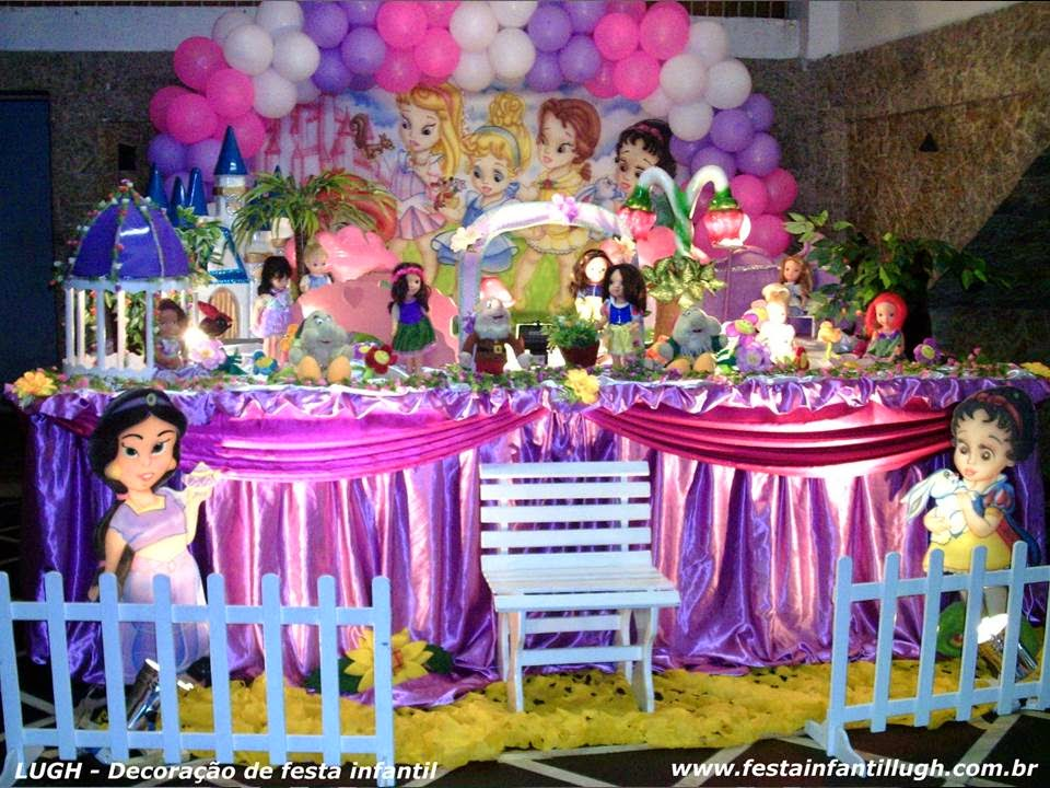 Tema das Princesas Baby Disney para festa de aniversário infantil de meninas