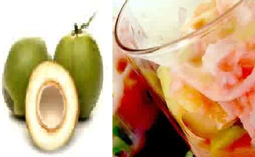 gambar minuman segar es kelapa muda mutiara dan nyiur melambai