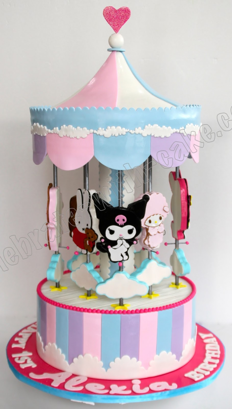 Celebrate with Cake Cartoon Characters Static Carousel Cake