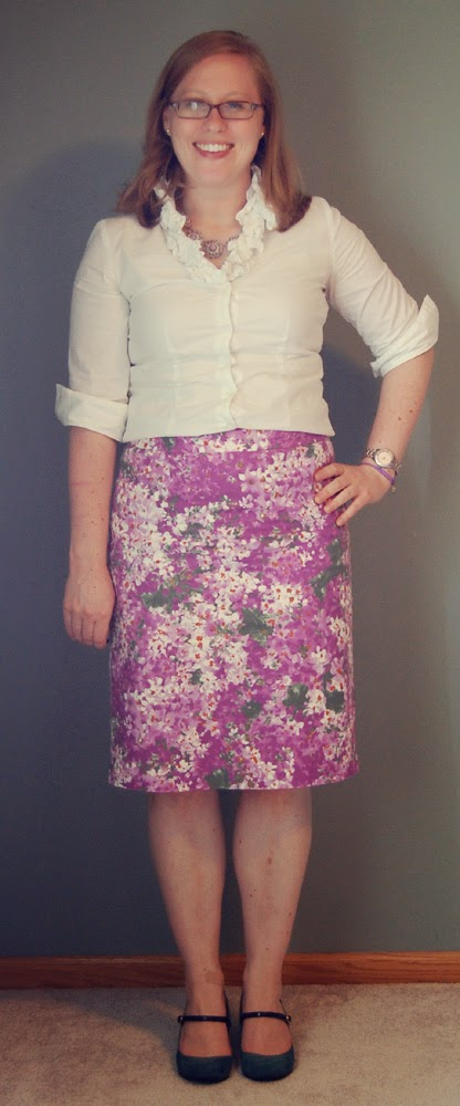 j crew watercolor garden pencil skirt  thrifted  talbots white ruffle blouse   thrifted  merona erin heels d06aa82a3